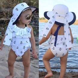 BaBy girl anchor clothing online shopping - Funny baby girls white newborn infant romper anchor ruffles bodysuit jumpsuit outfits sunsuit M toddler clothing set with headband