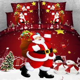 3d christmas bedding sets 2018 - 4 PCS PER SET Christmas Design Red Santa 3d Bedding set Christmas decorations for home Bedding cheap 3d christmas beddin