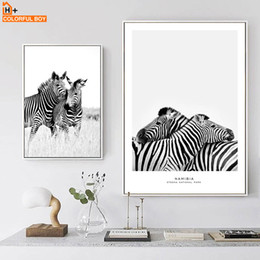 Black White Canvas Wall Prints NZ - COLORFULBOY Wall Art Print Zebra Black White Nordic Posters And Prints Canvas Painting Pop Art Wall Pictures For Living Room