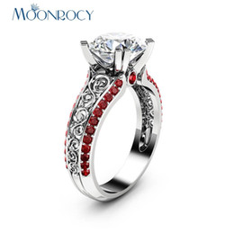 $enCountryForm.capitalKeyWord NZ - MOONROCY CZ Red Crystal Ring Rose Gold Color Vintage Wedding Rings Vintage Womens Jewelry for Women Girls Gift Drop Shipping