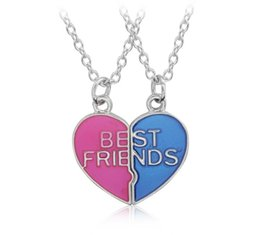 Heart Shaped Chains For Couples Australia - 12Pcs Hot Sale Heart Shaped Pendant Necklace Couple Broken Heart Best Friends Necklaces Trendy Colorful Friendship Jewelry For Girls