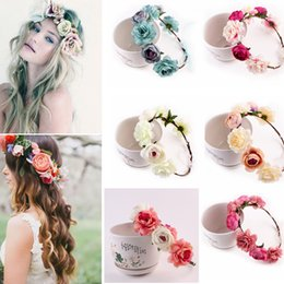 garland crown 2019 - Bohemia Women Flower Headband Hair Band Garland Crown Artificial Wedding Bride simulation flower head wreath Fashion Acc