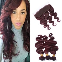 Burgundy Wavy Hair Australia - Wine Red 99J Virgin Malaysian Human Hair Bundles with Lace Frontal Closure Body Wave Wavy Burgundy Red Hair Weaves with Full Lace Frontals