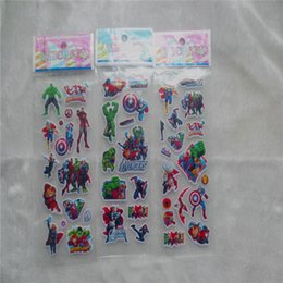 $enCountryForm.capitalKeyWord NZ - 100pcs Avengers captain America Cartoon bubbles stickers, 3D Avengers Hulk DIY Wall sticker for Kids Birthday Gift Toys stickers