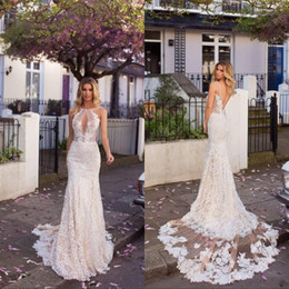 Full Lace Mermaid Wedding Dresses 2019 Underlay Appliques Sexy Low Backless  Keyhole Neck Long Country Bridal Gowns 9e2c89433ee5
