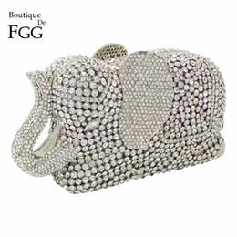 ce0a2accb Mujeres de plata de cristal del embrague del elefante embragues de noche  bolsos de metal Minaudiere bolsos embrague nupcial banquete de boda bolso  de hombro