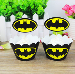 Batman Cake Topper 12pcs Wrappers 12 Pcs Toppers Set Paper Cup For Party Children Birthday Decorations Boys Gifts