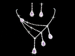 $enCountryForm.capitalKeyWord Canada - 2018 Crystal Blue Purple Flowers Water Drop Necklace Earrings Jewelry Sets Girl and Lady Prom Cocktail Graduation Bridal Accessories Wedding