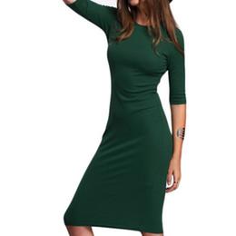 9134af6aeb88 Women Half Sleeve Midi Dress Bodycon Dresses Sexy Slim O-Neck Bandage Dress  Autumn Elegant Work Jurken