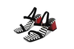 $enCountryForm.capitalKeyWord UK - Women's Dress zebra color sandals Chunky Heel Over Toe Ankle Wrap Tie Front women ankle strap Block Heel open toe shoes with buckle breaded