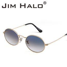 67894fee8f1 JIM HALO Retro Small Oval Round Frame Gradient Lens Sunglasses Classic Metal  Sun Glass Lens Shades Men Women Eyewear