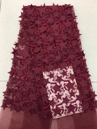 Wholesale EPY1098 yards pc fashion red d stars appliqued French net lace fabric new African tulle lace for party dress