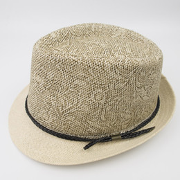 China EPU-MH1829 Paper Straw mens and womens Vintage Stingy Brim Floral Printed Best High Quality Trilby Fedora Jazz Hat suppliers