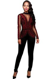 Chinese  2018 Long Jumpsuits Playsuits Steampunk Studded Pattern Mesh Insert Night Club Rompers Overalls for Women Winter Jumpsuits manufacturers