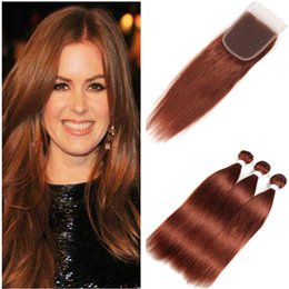 straight hair color 33 2019 - Copper Red Virgin Peruvian Human Hair Bundles Body Wave Wavy with Closure #33 Dark Auburn 4x4 Lace Closure Piece with We