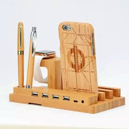 Charge stations for Cell phones online shopping - Real Wooden USB Charging Dock Station Wood Bamboo Mobile Phone Holders Stands for apple watch iPad Desktop Bracket Cell Phone Stand Cradle