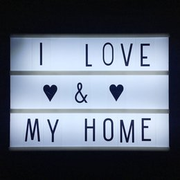 Discount home cinema diy A4 size 3 Line Cinematic Cinema LED Lightbox with Various Letters LED Night Lamp Power For DIY Home Decoration Lighting