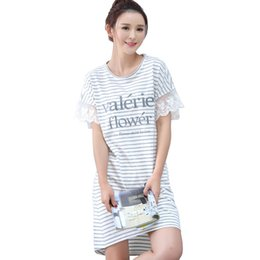 9d1aa753c6 Summer New Sleepshirts Stripes Dress Shirts Nightie Women Plus Size XXL  Sleepwear Loose Loungwear Cute Nightgowns Casual Nighty