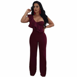 f5d4ded55793 2017 Winter New Women s Sexy Solid One-Shoulder Ruffles Cocktail Party Long  Loose Wide Pants Bodycon Rompers Jumpsuit MOS