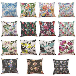 $enCountryForm.capitalKeyWord UK - Novelty Flamingo Tropical Plant Linen Cushion Cover Home Office Sofa Square Pillow Case Decorative Pillowcases Without Insert(18*18Inch)