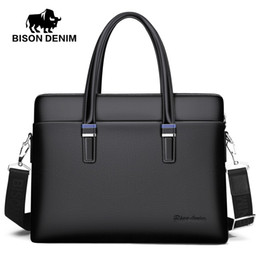 "$enCountryForm.capitalKeyWord NZ - BISON DENIM Genuine Leather Men Bag Business 14"" Laptop Handbag Zipper Crossbody Bag Cowhide Men's Messenger Bags N2774-3B"
