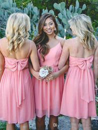 knee length spaghetti strap bridesmaid dresses 2019 - Sweetly Watermelon Knee Length Short Bridesmaid Dresses Chiffon Spaghetti Straps Cheap Girls Party Homecoming Wear With