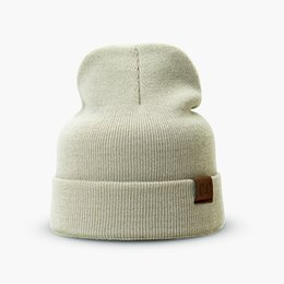 Discount stylish caps for men - CC Knitted Beanie Unisex Cotton For Women Winter Hats Men Solid Cap Ladies Stylish Bone Boys Autumn Keep Warm Skullies B