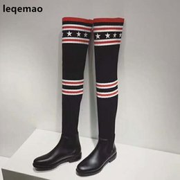 $enCountryForm.capitalKeyWord NZ - Hot Sale Fashion Cool Women Socks Boots Over The Knee High Spring Autumn Winter Elastic Flats Rubber Shoes Size 35-40