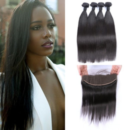 black weaves Canada - Indian Virgin Hair Bundles With Full Lace Frontal Closure 13*4inch Natural Black Straight Hair Weaves 8-30inch