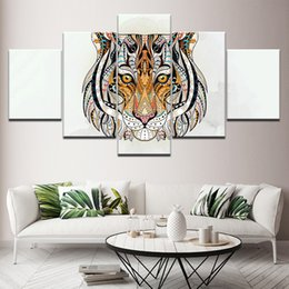 $enCountryForm.capitalKeyWord Australia - Modern Home Decor Modular Pictures 5 Piece Calligraphy Abstract Tiger Poster Canvas Painting Prints Wall Art Pictures Framework