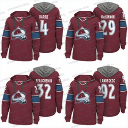 ice hockey hoodie sweatshirt UK - Men 100th Colorado Avalanche Jerseys 4 Tyson Barrie 29 Nathan MacKinnon 92 Gabriel Landeskog 6 Erik Johnson Hoodies Jerseys Sweatshirts