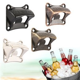 Wholesale Vintage Bronze Wall Mounted Opener Wine For Beer Soda Glass Cap Bottle Opener Kitchen accessories supplies Bar Gift Zinc Alloy