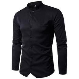 $enCountryForm.capitalKeyWord Australia - White Chinese Tunic Suit Handsome Boy Club Clothes Stand Collar Blouse Tide Boys Blusa Adornment Pocket Male Split Placket Shirt