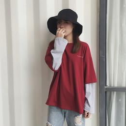 ae5e75e2e22c Harajuku T-shirt Women Casual Clothing Korean Style Ulzzang Fake 2 Piece  Patchwork Long Sleeve T-shirts Female Vintage Tee Tops