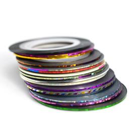 Silver Nail Tape Australia - striping tape line 1mm 15pcs lot Laser Mixed Color Nail Art Striping Tape Line Rolls Gold Silver Sticker Set Glitter Nail Decoration DIY