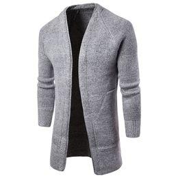 be9906292ff853 Lange Trenchcoat Männer Herren Strickjacke Hohe Qualität Männer Mode Lässig  Designer Pullover Grau Schwarz Lange Coole Herren Pullover Sueter