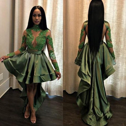 Hi lo see tHrougH dresses online shopping - African Olive Green Black Girls High Low Prom Dresses Sexy See Through Lace Appliques Long Sleeves Party Cocktail Evening Gowns Cheap