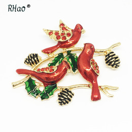Discount clothing for wedding man - RHao Bohemian 3 Birds Women Wedding Brooches Festive Red Birds Enamel pins for women men New Year clothes jewelry brooch