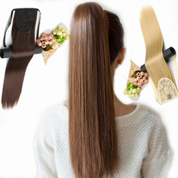 """13 Colors Available 20"""" Long Silky Straight Synthetic Drawstring Ponytail Clip in Extension Style High Temperatur Fiber on Sale"""