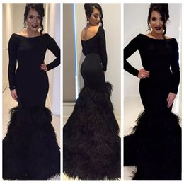 Discount plus size purple special occasion dresses - Scoop Long Sleeves Mermaid Black Evening Dresses With Feather Adorned Prom Party Gowns 2019 Slim Custom Special Occasion