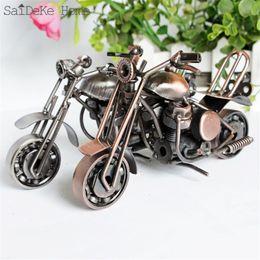 $enCountryForm.capitalKeyWord NZ - SaiDeKe 18cm Retro Motorcycle Model Metal Vintage Motor Figurine Iron Motorbike Prop Handmade Boy Gift Kid Toy Home Office Decor
