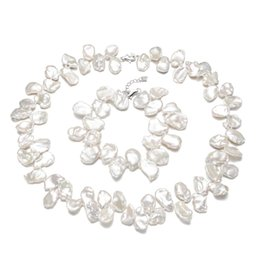 Discount bridal pearls set - SNH 12-15mm keshi Real freshwater bridal jewelry sets wedding 925 silver fine natural white pearl jewelry sets for women