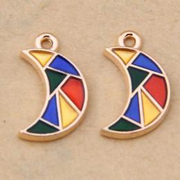 $enCountryForm.capitalKeyWord NZ - 10*17mm Fashion diy Enamel moon charms, China geometric pendant metal dangles alloy bracelet earrings accessories wholesale jewelry making