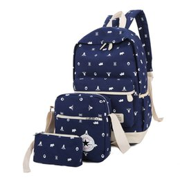 green travel backpack 2019 - New Preppy Style 3 pcs set Women Printing Canvas BackpacHigh Quality School Bags for Girls Rucksack Fashion Travel Bags