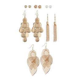 Golden Ear Studs NZ - leaves chain tassel dangle earrings Sheet metal fringe chandelier ear drops pearl golden knot ear studs six pairs earrings jewelry set