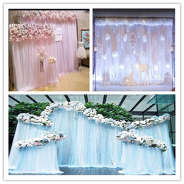 Discount birthday photography - Ice Silk Fabric and sash Backdrop Curtain For Wedding Decoration Backdrop Photography Vintage Castle Indoor Staircase Ph