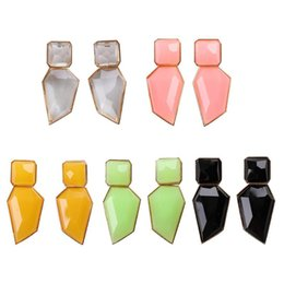 China Fashion Candy Color Earrings Geometric Resin Drop Exaggerated Dangle Earrings for Women Party Summer Jewelry suppliers