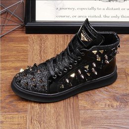 ab81cef697452 ItalIan leather ankle boots online shopping - 2018 New style Italian Style  Rivets Embellished Men Casual
