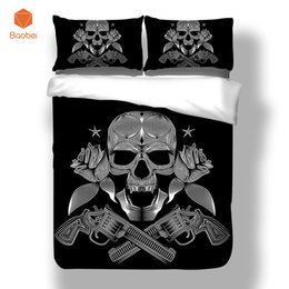 twin size bedding sets for kids UK - 3pcs Pinted 3D Silver Skull Duvet Cover Set Bedding set With Pillowcase for Adults Kids Twin Full Queen King Size sj242