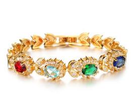 $enCountryForm.capitalKeyWord NZ - Europe American women fashion jewelry 18K gold plated colorful Bracelet link chain wedding lover gift Chiristmas Valentine's day
